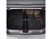 Chevrolet Camaro Cargo Area Carpeted Mat in Black with Adrenaline Red Stitching and Camaro Script for Coupe Models - 23507995