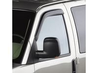 GMC Savana 1500 Front Tape-On Window Weather Deflectors in Smoke Black with White GM Logo - 12370638