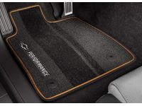 Cadillac XT6 First-and Second-Row Premium Carpeted Floor Mats in Jet Black with Kalahari Stitching and Camaro Script - 23283733