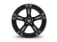 GM 20x8.5-Inch Aluminum 5-Spoke Front Wheel in Gloss Black with Red Stripe - 23333839