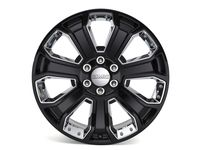 GM 22 x 9-Inch Aluminum 7 Spoke Gloss Black Wheel with Chrome Inserts - 84340647