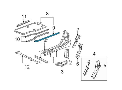 2013 Chevrolet Corvette Grand Sport 8 Cyl 6.2 L GAS HINGE PILLAR