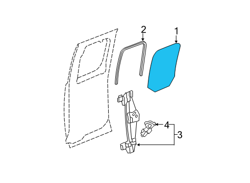 2012 Chevrolet Silverado 1500 LTZ 8 Cyl 5.3 L FLEX GLASS - REAR DOOR