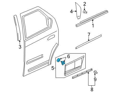 2005 Buick Rendezvous CX Plus 6 Cyl 3.4 L GAS EXTERIOR TRIM - REAR DOOR